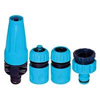 Kopplingar och spraymunstycke till vattenslang