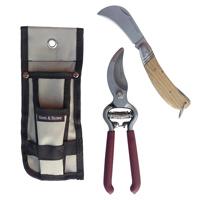 Set med kniv och sekatör i hölster-Hölster med trädgårdsredskap sekatör och beskärningskniv