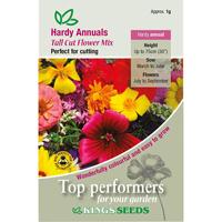 Sommarblommor, Mix med höga sorter, Fröpåse till Hardy Annuals, Tall Cut Mixed