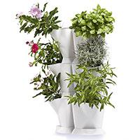 Dubbelmodule med vertikalodling av krukväxter inomhus och på balkong