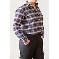 Arbetsskjorta Maja, svartrutig, fram