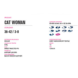 Produktinformation arbetsskor Cat Woman