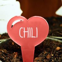 Blomskylt Hjärta, Röd-Växtetikett i forma av ett hjärta