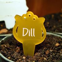 Blomskylt Tulpan, Brandgul, Växtetikett i form av en tulpan