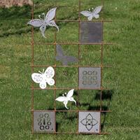 Tankeruta Lotus, copper, Trädgårdsdekoration - armeringsmatta med tankerutor och fjärilar.