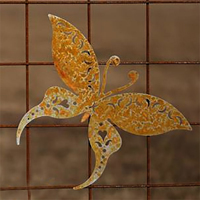 Makaonfjäril i rost för armeringsnät, XS, Trädgårdsdekoration fjäril i rost för armeringsmatta