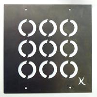 Tankeruta Cirklar, rostar, Trädgårdssmycket i rost för armeringsnät med motiv av cirklar