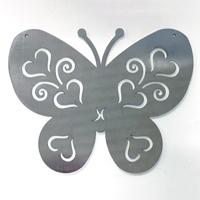 Fjäril i rost för armeringsnät, L-Dekorationsdelen fjäril i järn som rostar, för upphängning i armeringsmatta