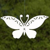Trädgårdsdekor fjäril vit för upphängning, S-Trädgårdsdekor fjäril för upphängning i trädgården eller inomhus