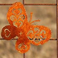 Fjäril i rost för armeringsnät, M, Trädgårdsdekoration fjäril i rost för armeringsmatta