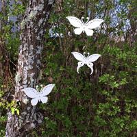 Dekor makaonfjäril vit för upphängning, XS, Trädgårdsdekoration fjäril, vit med upphängning
