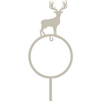 Dekorativ hållare till talgboll, rådjur grå-Hållare till fågelmat talgboll - rådjur på pinne
