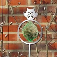 Dekorativ hållare till talgboll, uggla grå-Fågelmatare - dekorativ hållare för talgboll uggla, grå
