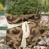 Jutesäck deko liten, brun-Jutesäck för vinterskydd med dekorativt mönster