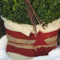 Dekorband jute, red, Dekorband för säkring av vinterskydd