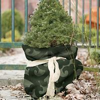 Jutesäck deko stor, grön-Jutesäck för vinterskydd med dekorativt mönster
