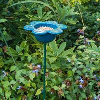 Fågelmatare Kronblad, blå-Fågelmatare med blå kronblad i keramik