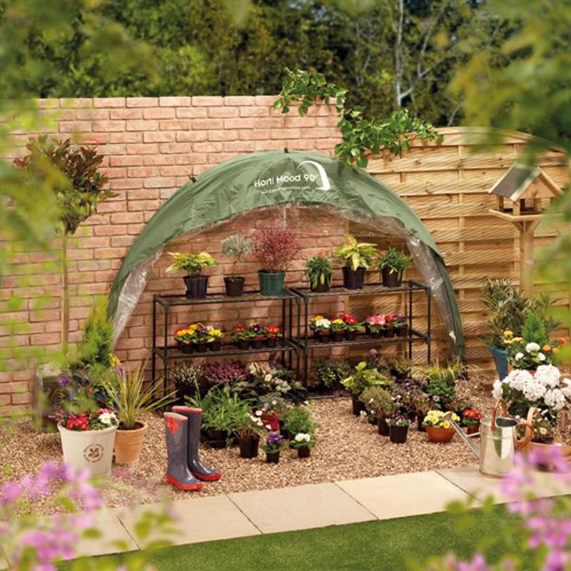 Utfällbart väggväxthus, HortiHood 90, Fällbart växthus för väggmontering Horti Hood 90