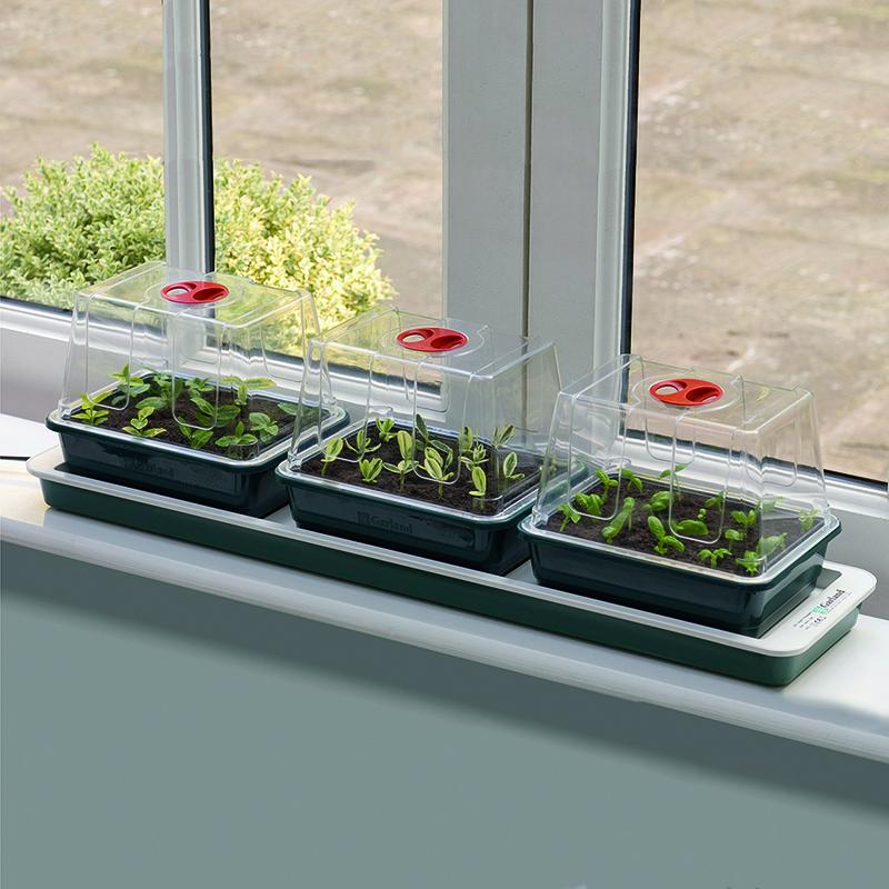Miniväxthus 3 kupor med undervärme, miniväxthus för fönsterbrädan med undervärme