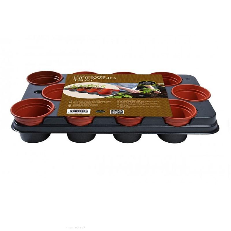 Krukbrätte med 12 x 11cm-krukor, Odlingsbricka med runda plastkrukor