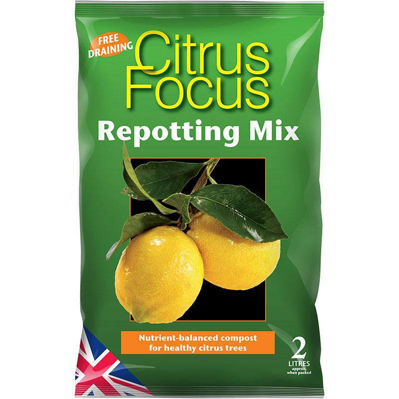 Citrus Focus - citrusjord, 2 liter, Citrus Focus Repotting Mix - specialjord för citrusträd