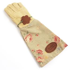 Handskar i skinn med vaxat linne - gröna-