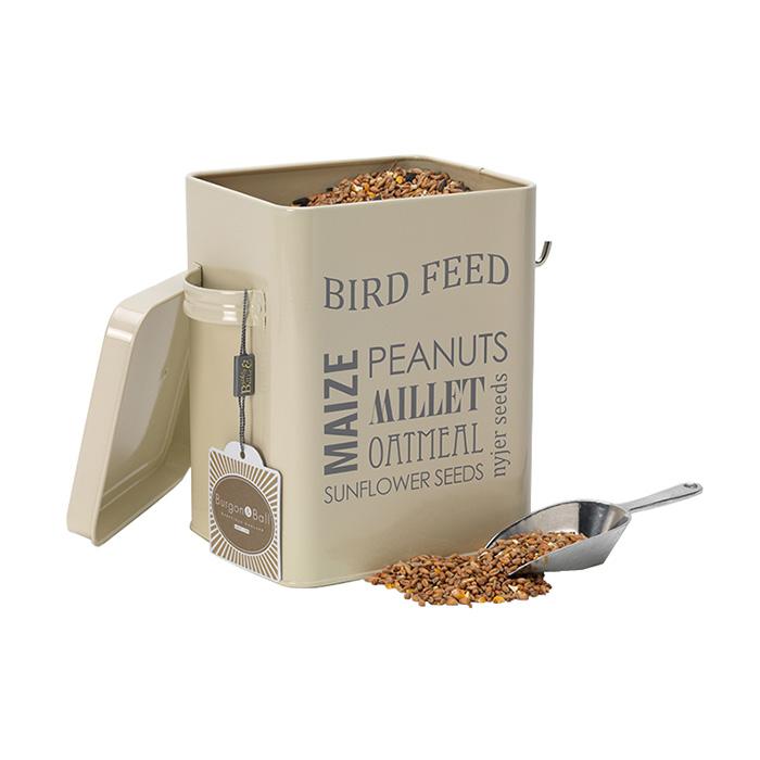 Burk för fågelmat m skopa, creme-Burk för fågelmat med skopa