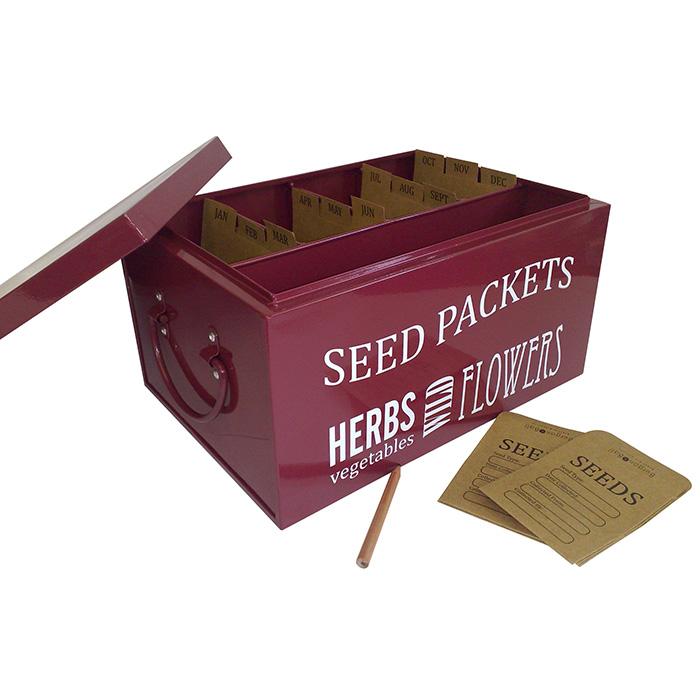 Låda för frö, Burgundy-Plåtlåda för förvaring av fröpåsar