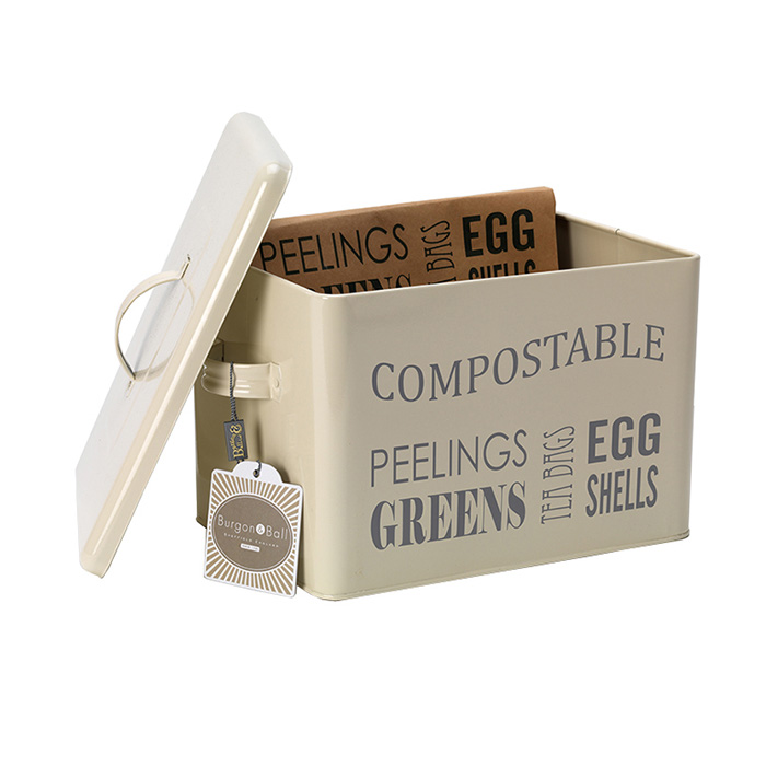 Burk för kompostavfall, Jersey Cream, Låda med lock för kompostavfall