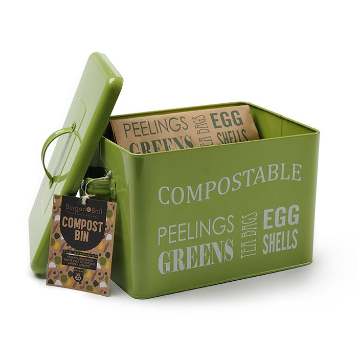 Burk för kompostavfall, Lime Green-Låda med lock för kompostavfall