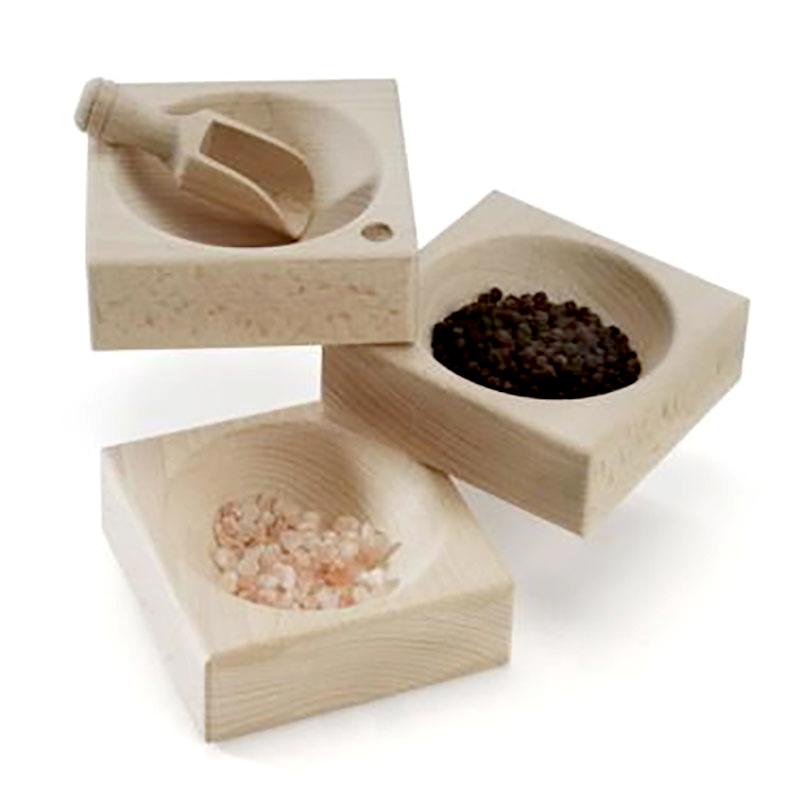Q Bowl - kryddskål med skopa, Kryddskål med skopa i FSC-odlat trä