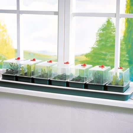 Miniväxthus med undervärme för fönsterbrädan - 7 kupor, Miniväxthus Super 7 med undervärme och 7 separata miniväxthus