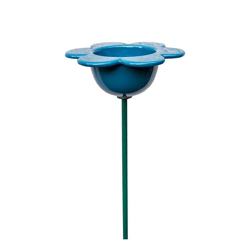 Fågelmatare, blå blomma i keramik