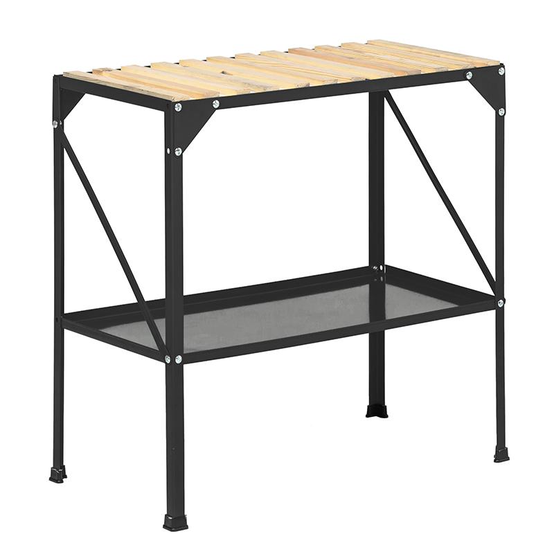 Avlastningsbord i stål för växthus och balkonger' svart
