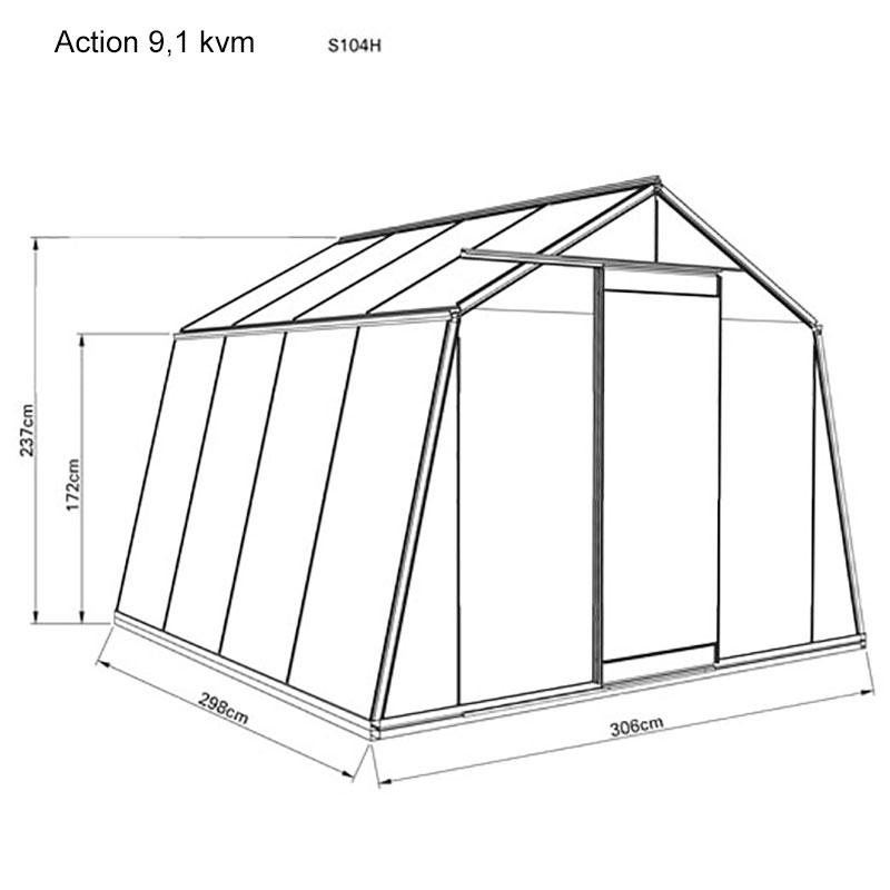 Måttangivelser för växthus modell Action 9,1 kvm