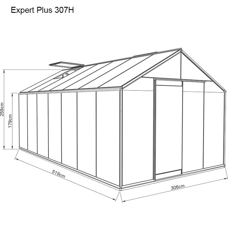 Måttskiss växthus Expert plus 15,9 kvm