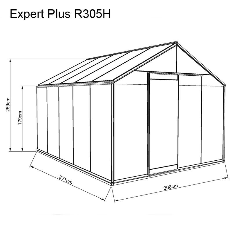 Måttskiss växthus Expert plus R305H
