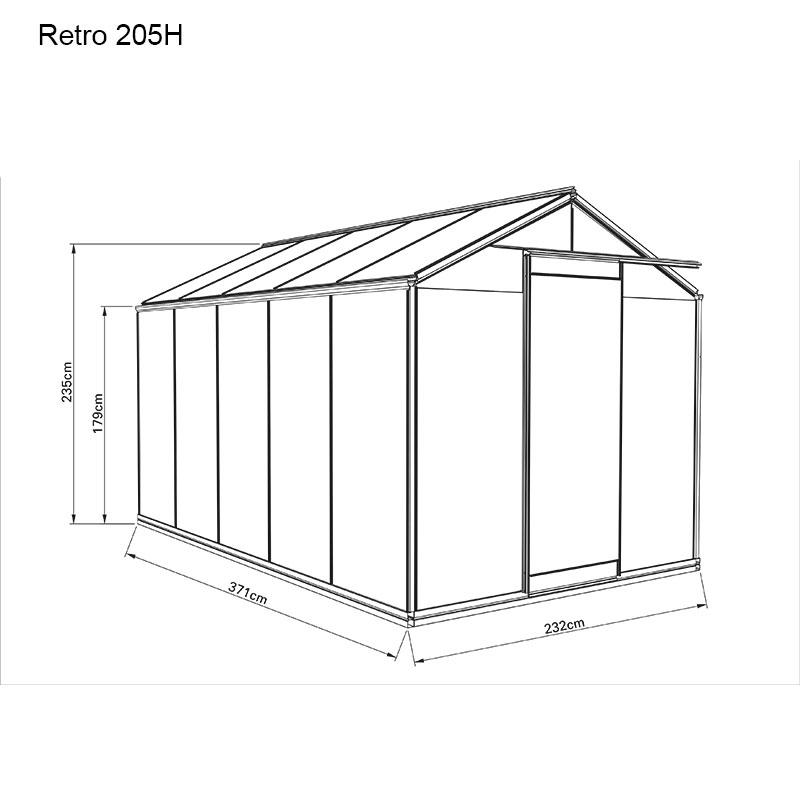 Måttskiss växthus Retro 8,6 kvm