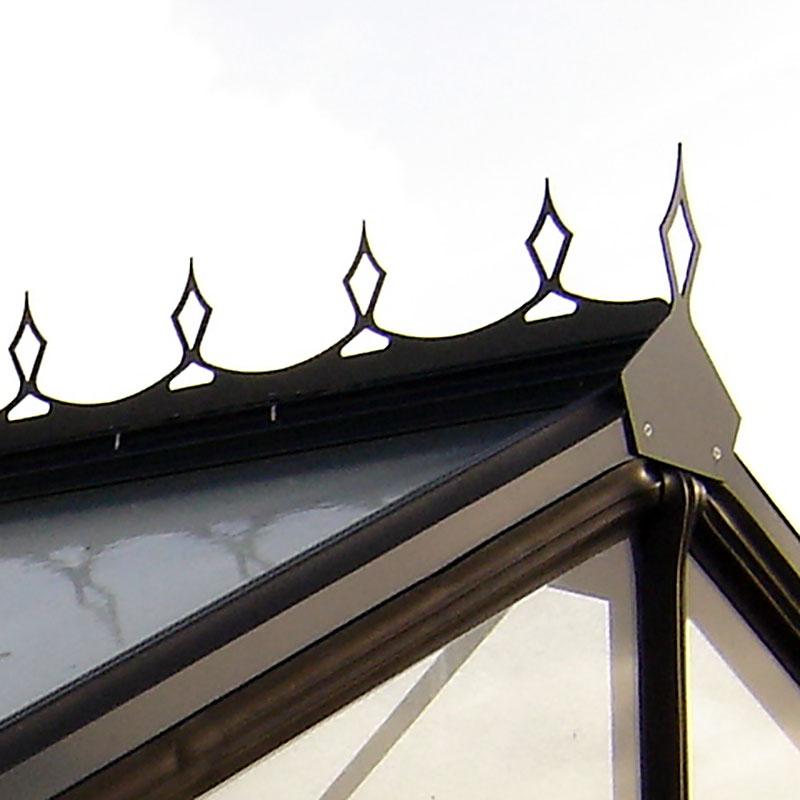 Nockdekor Action 9,1 kvm och Expert Plus 6,9 kvm-Nockdekoration till växthus med 4 paneler