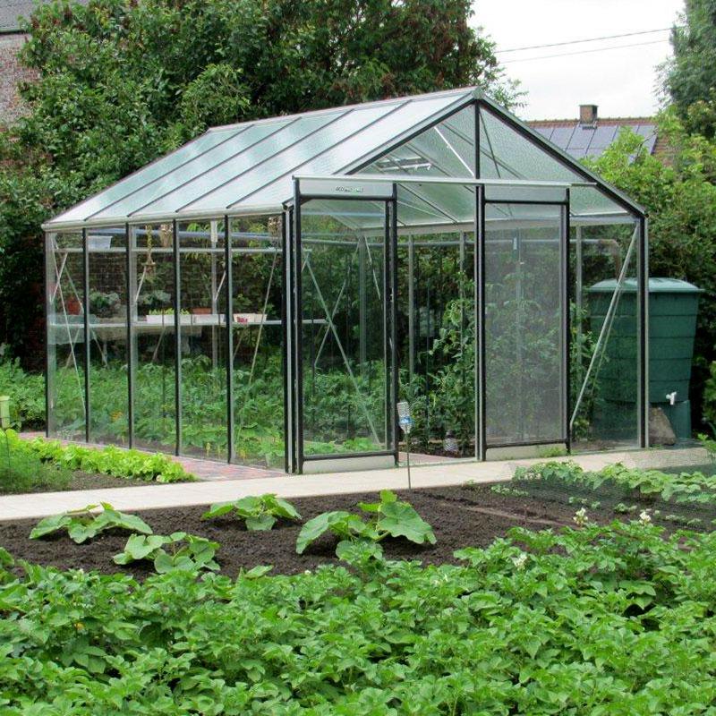 Växthus Expert Plus i aluminium placerad i en köksträdgård