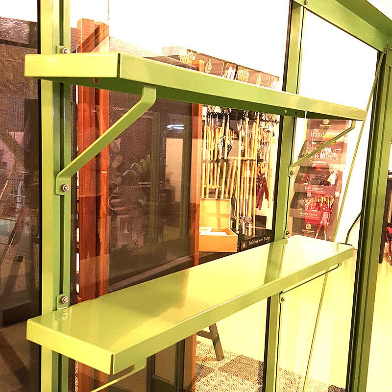 Set med två aluminiumhyllor 86 x 15 cm, lackade-Set med aluminiumhyllor växthus 86 x 15 cm, lackat