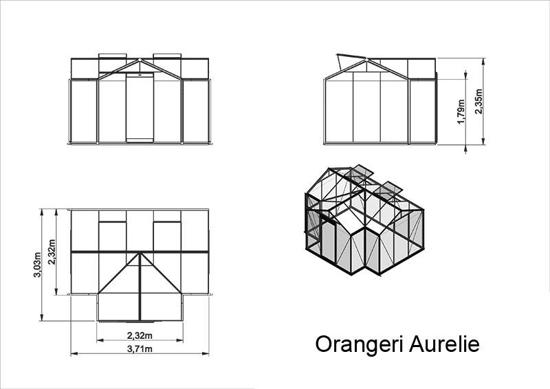Orangeri Aurelie 10,3 kvm, Måttskiss orangeri 10,3 kvm