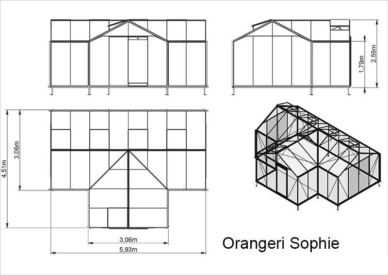 Trädgårdsrum/växthus Orangeri Sophie 22,6 kvm