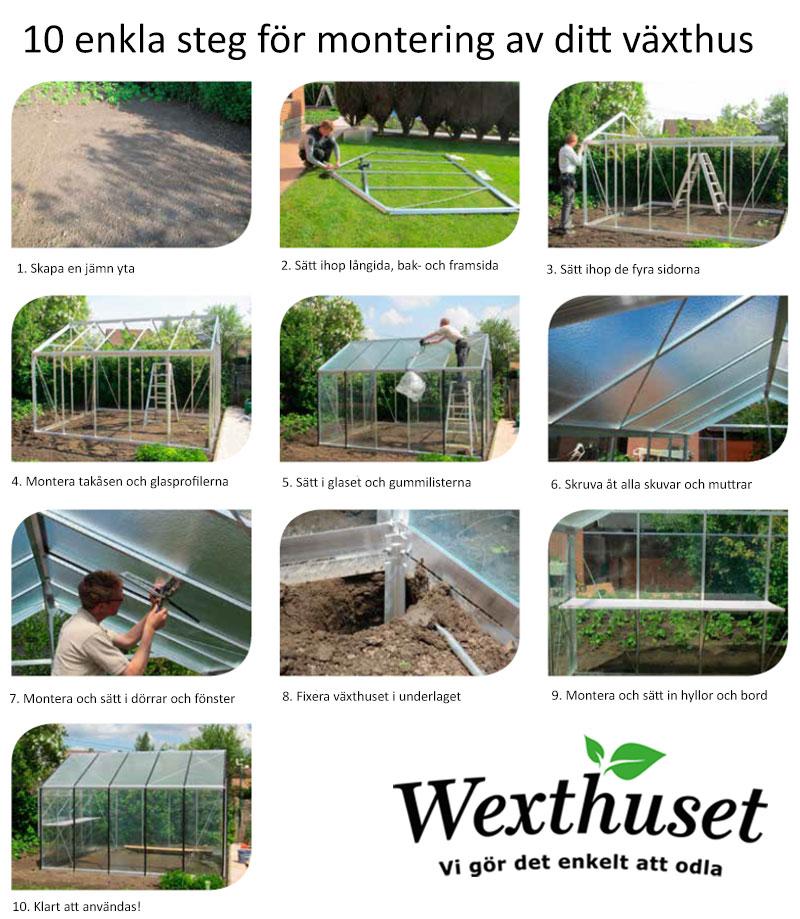 Översikt över monteringsbeskrivning växthus
