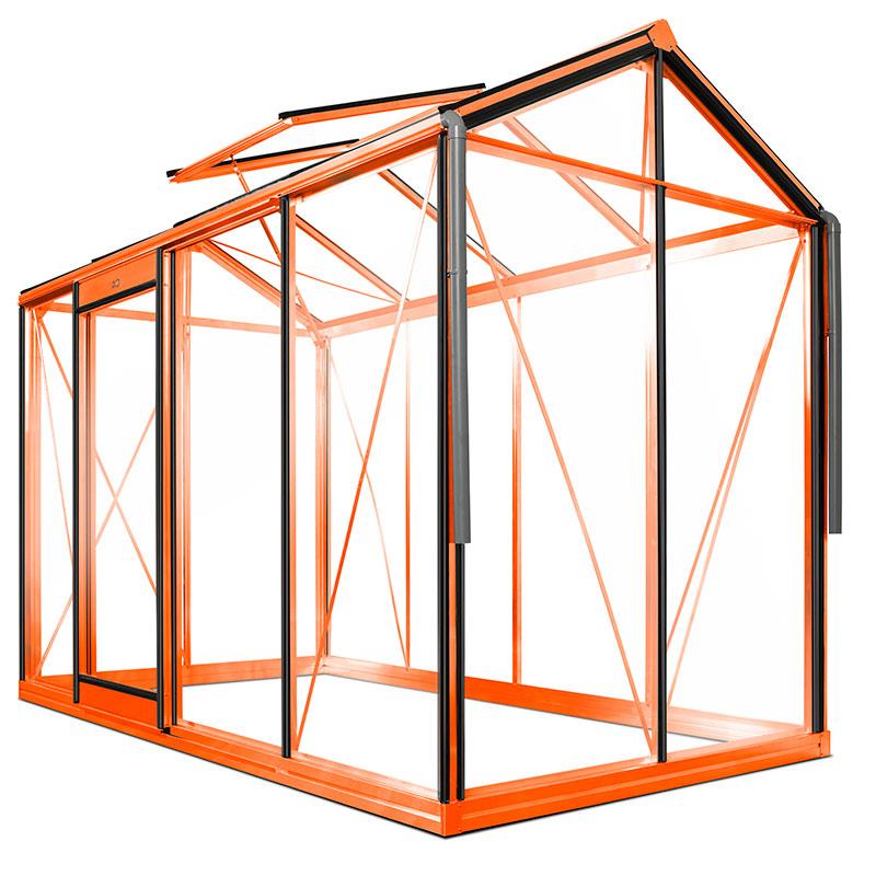 Växthus modell Piccolo 4 pulverlackat i färg orange