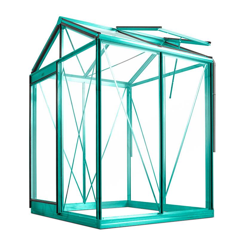 Hobbyväxthus i glas Piccolo aluminium