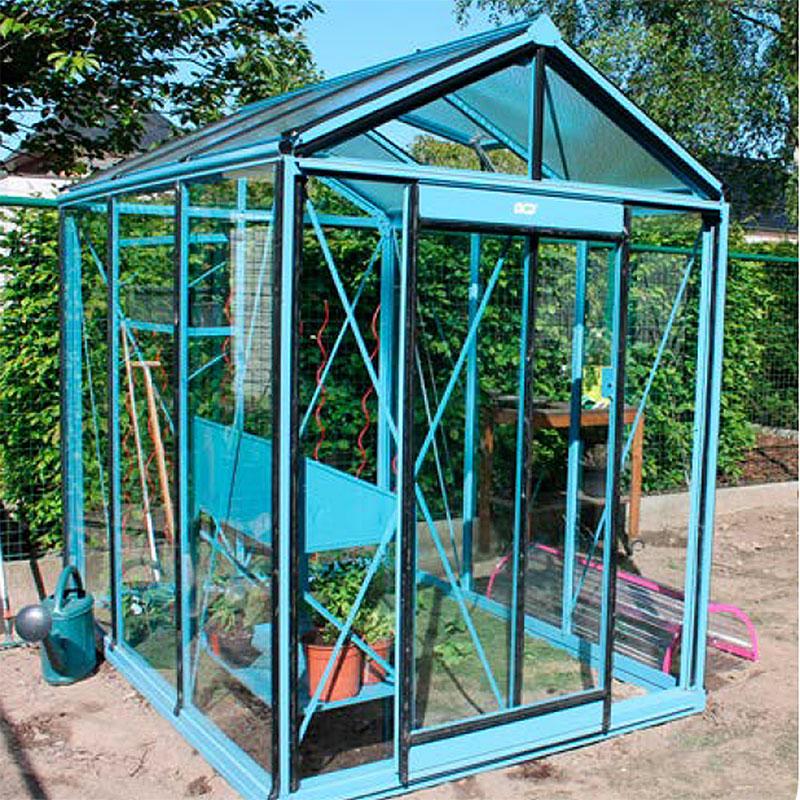 Växthus Prestige Piccolo målat i ljusblått