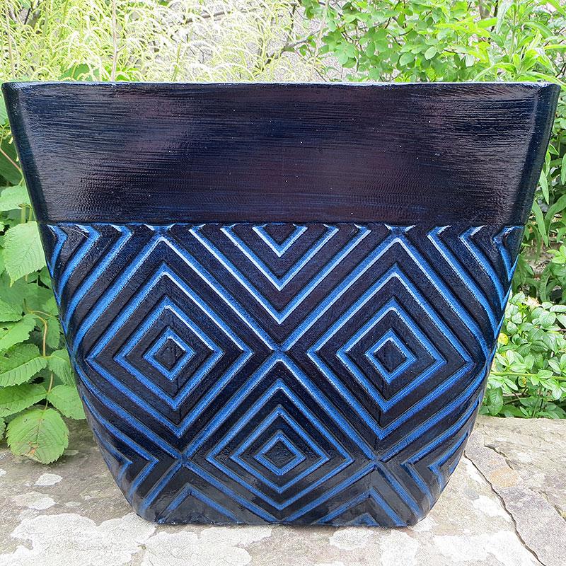 Mosaic Square Planter, Blå, Lättviktskruka i fiberclay Mosaic Square Planter Blå