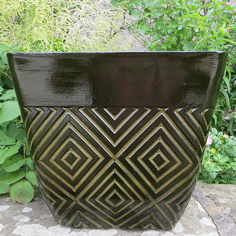 Mosaic Square Planter, Grön-Lättviktskruka i fiberclay Mosaic Square Planter Grön