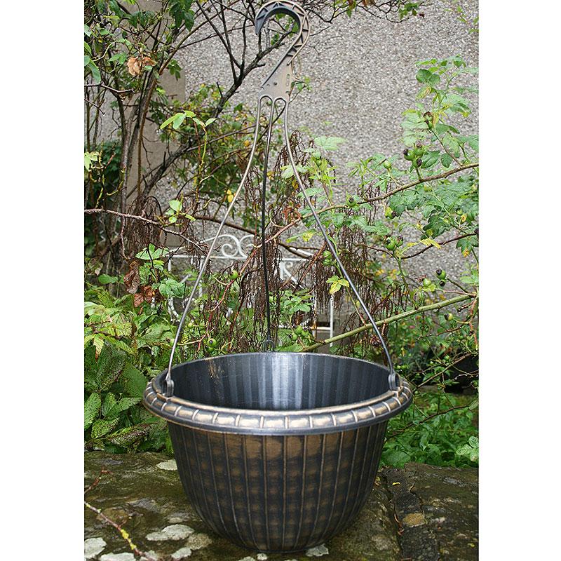 Ampel, Fluted Hanging basket, svart/guld, Ampel Fluted Hanging Basket, svart/Guld